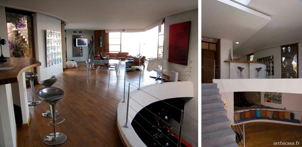 photo salon et cuisine villa d 39 architecte en corse. Black Bedroom Furniture Sets. Home Design Ideas